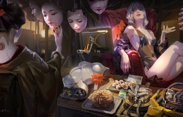 Картинка глаза, японка, кресло, лица, мозг, монитор, кимоно, киборг, экзоскелет, торговля, магазин, art, запчасти, товары, черный …