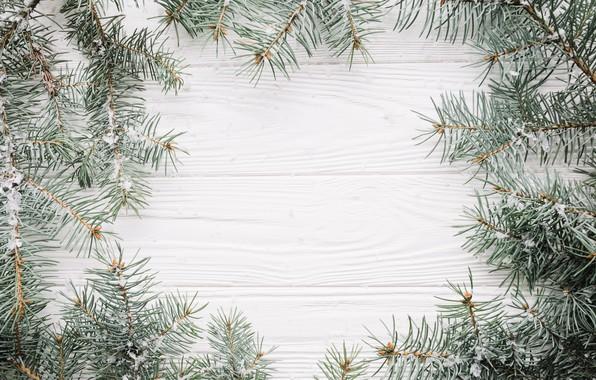 Картинка снег, фон, елка, Новый Год, Рождество, Christmas, wood, snow, New Year, decoration, Happy, Merry, fir …