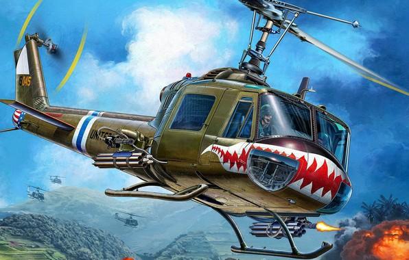 Картинка Вьетнам, Bell, Iroquois, Huey, американский многоцелевой вертолёт, UH-1C