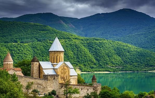 Картинка горы, крепость, Грузия, Ananuri
