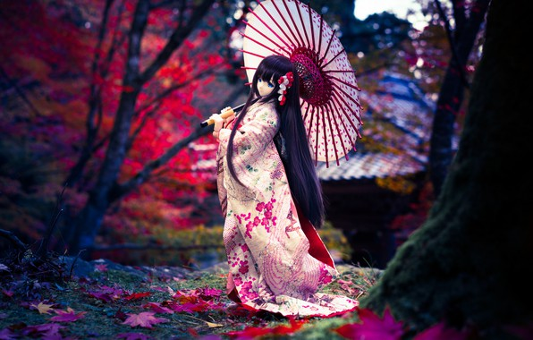 Картинка зонтик, волосы, японка, кукла, кимоно