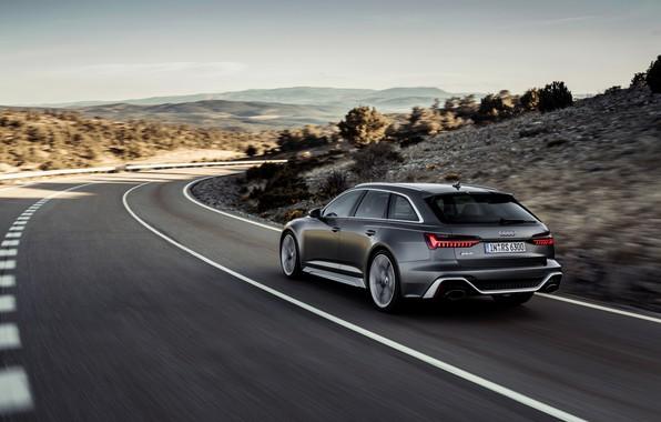 Картинка движение, Audi, сзади, универсал, RS 6, 2020, 2019, тёмно-серый, V8 Twin-Turbo, RS6 Avant