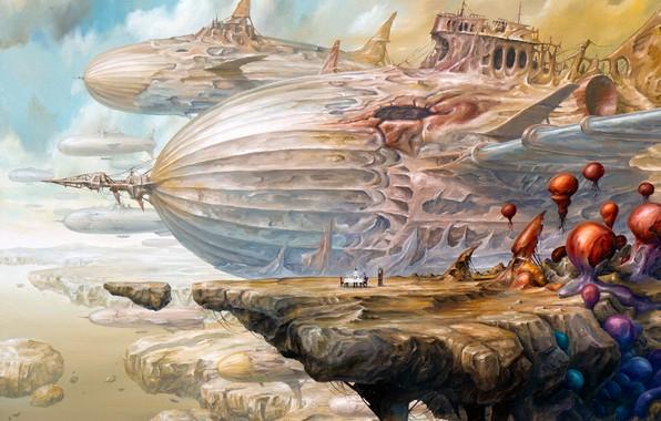 Картинка dream, girl, fantasy, airship, sky, flying, woman, rocks, man, boy, couple, painting, artwork, table, clock, …