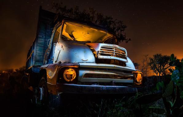 Картинка машина, ночь, грузовик