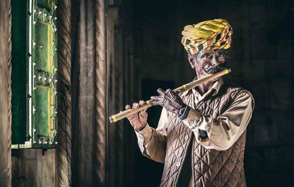 Картинка Portrait, India, Rajasthan, Jodhpur, flautist