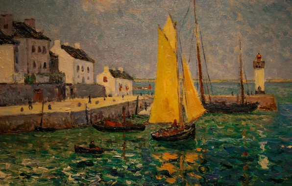Картинка пейзаж, лодка, маяк, дома, картина, парус, гавань