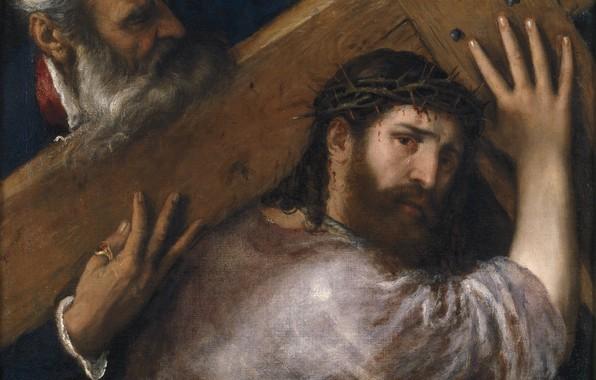Картинка крест, Titian Vecellio, Христос и Симон Киринейский, 1547