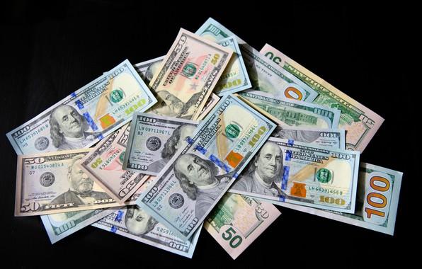 Картинка Черный фон, США, Купюры, Деньги, Бенджамин Франклин, Benjamin Franklin, Dollar, Доллар, Доллары, 100, Сто