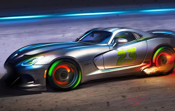 Картинка Car, Art, Flame, Dodge Viper, Sketch, Sparks, Aleksandr Sidelnikov