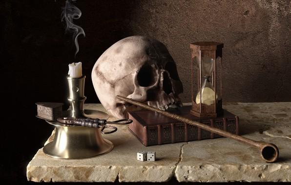 Картинка время, череп, свеча, трубка, арт, кости, книга, песочные часы, Memento Mori, Onur Buyukyilmaz, огниво