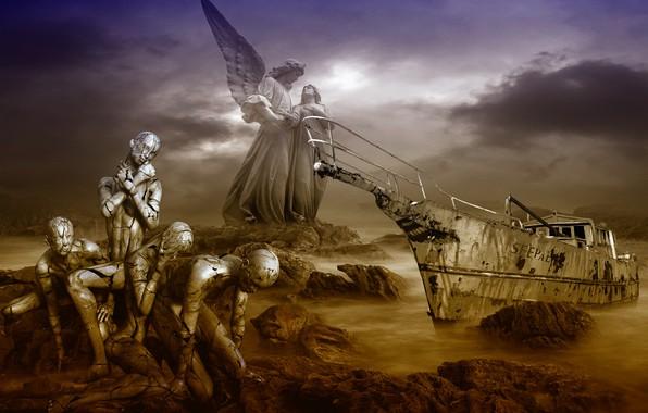 Картинка море, мрак, судьба, безысходность, кораблекрушение, погибающие люди, трагизм, обречённость, мучения
