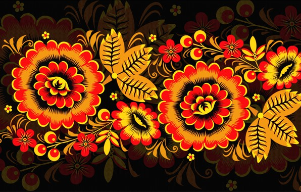 Картинка Цветы, Узор, Стиль, Фон, Роспись, Арт, Хохлома, Хохломская роспись, madeinkipish, Иван Иваныч, Русская роспись
