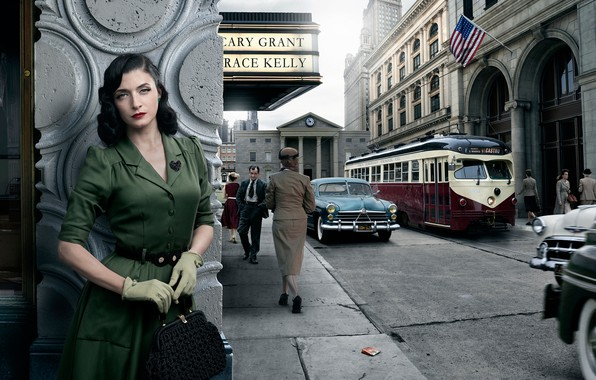 Картинка авто, девушка, город, ретро, San-Francisco, Stories, Dorothy Hamilton