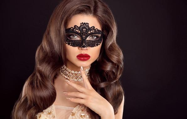 Картинка девушка, стиль, макияж, маска, lips, makeup