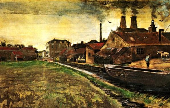 Картинка река, лодка, дым, дома, Винсент ван Гог, The Hague, Iron Mill in