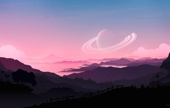 Картинка fantasy, forest, Saturn, sky, trees, sunset, mountains, clouds, stars, birds, planet, artist, digital art, artwork, …