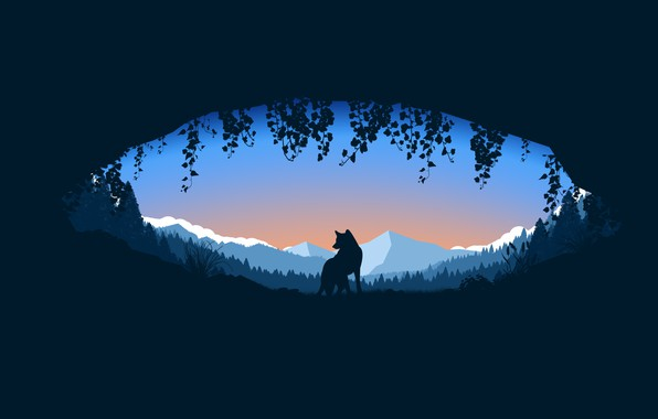 Картинка forest, trees, landscape, minimalism, nature, mountains, animal, wolf, digital art, plants, silhouette, Cave, simple background
