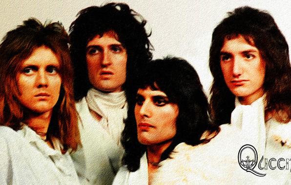 Картинка обои, рисунок, живопись, холст, Queen, Freddie Mercury, Brian May, Roger Taylor, John Deacon, акрил
