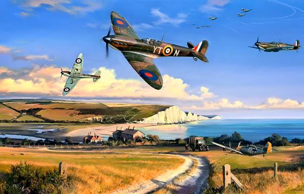 Картинка Битва за Британию, грунтовая дорога, автомашина, WWII, Spitfire Mk.I, Белые скалы Дувра, 65 Squadron