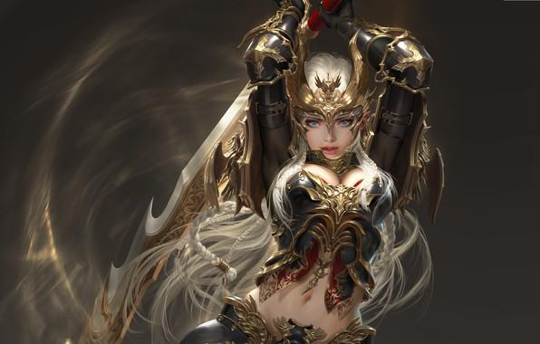 Картинка девушка, воин, фэнтези, арт, лвл, 태섭 신, дизайн костюма, League of Angels - Origins