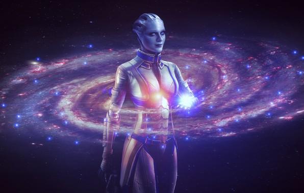 Картинка космос, звезды, Девушка, галактика, млечный путь, mass effect, персонаж, голограмма, азари, liara t'soni, эван рейчел …