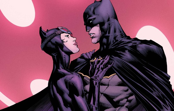 Картинка girl, fantasy, Batman, man, couple, comics, artwork, mask, superheroes, costume, fantasy art, DC Comics, Catwoman, …