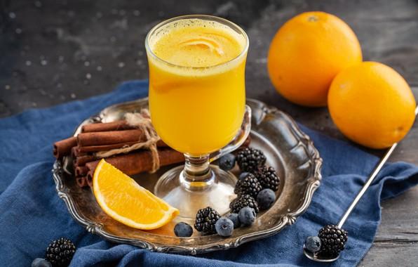 Картинка ягоды, апельсин, сок, цитрус, корица
