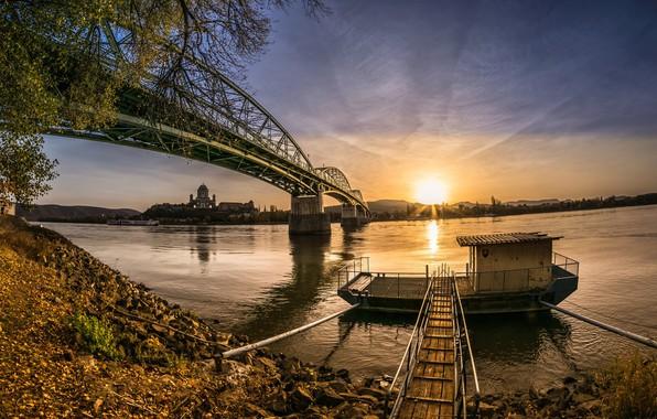 Картинка закат, мост, река