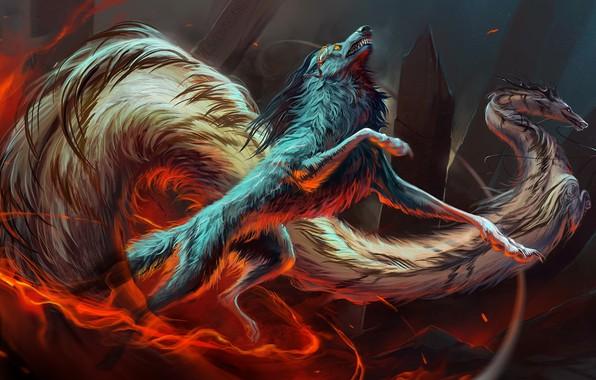 Картинка движение, скалы, огонь, дракон, волк, fire, rocks, wolf, dragon, fantasy art, movement, fantastic animals, фантастические …