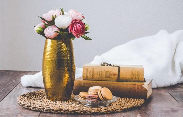 Картинка ретро, книги, ваза, винтаж, macaron