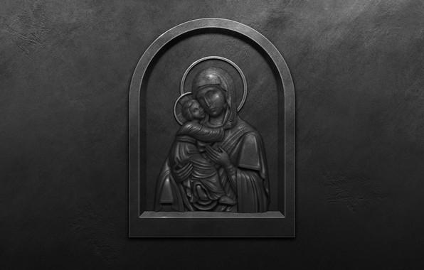 Картинка металл, стена, образ, слеза, икона, Богородица, Образ Пресвятой Богородицы