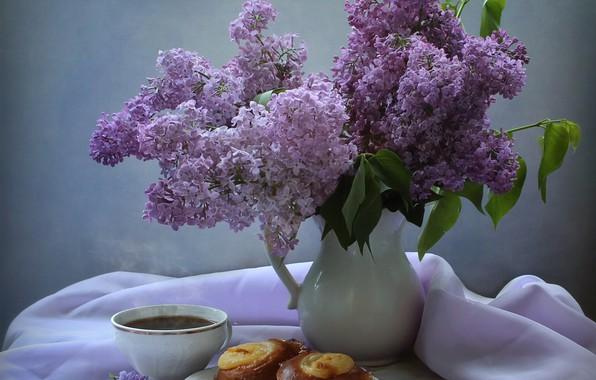 Картинка ветки, чай, чашка, ткань, кувшин, натюрморт, блюдце, выпечка, сирень, Ковалёва Светлана, Светлана Ковалёва