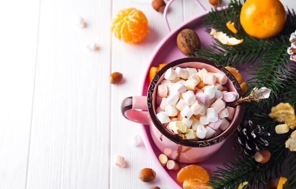 Картинка украшения, Новый Год, Рождество, кружка, Christmas, cup, New Year, какао, decoration, xmas, Merry, fir tree, …