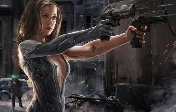 Картинка guns, girl, fantasy, android, science fiction, sci-fi, weapons, digital art, artwork, warrior, fantasy art, cyborg, …
