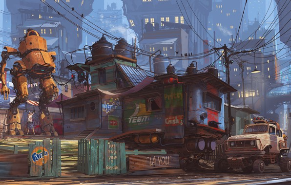 Картинка Дома, Авто, Рисунок, Город, Машина, Здания, City, World, Fantasy, Архитектура, Автомобиль, Арт, Art, Auto, Robot, ...