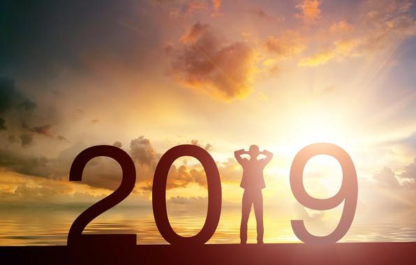 Картинка солнце, фон, Новый год, New Year, 2019