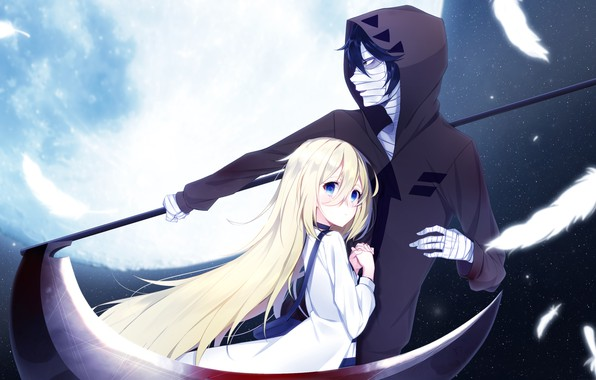 Картинка девушка, ночь, звёзды, пара, коса, парень, Ангел кровопролития, Satsuriku no Tenshi