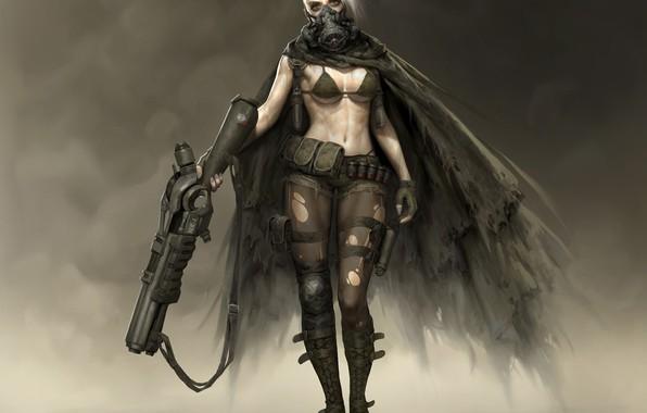 Картинка взгляд, оружие, Девушка, маска