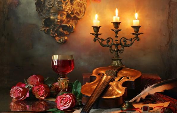 Картинка цветы, ноты, перо, вино, скрипка, бокал, розы, свечи, скульптура, перстень, Андрей Морозов