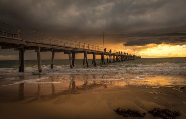 Картинка пейзаж, закат, тучи, мост, природа, красота