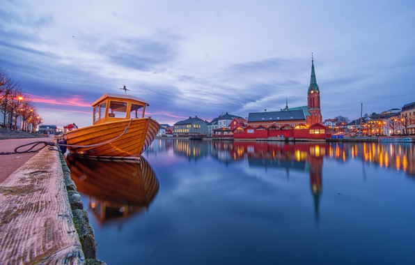 Картинка огни, лодка, вечер, Норвегия, церковь, Norway, Arendal