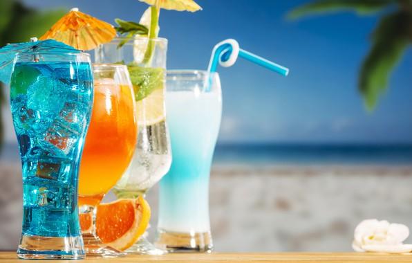 Картинка пляж, лето, отдых, коктейль, ice, summer, напитки, beach, каникулы, fresh, fruit, drink, vacation, tropical