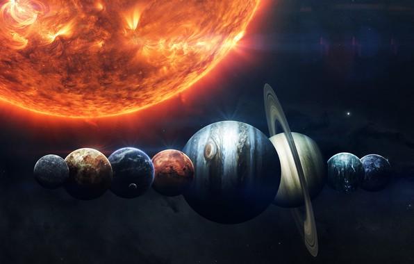 Картинка Солнце, Сатурн, Луна, Космос, Звезда, Земля, Планеты, Moon, Марс, Юпитер, Нептун, Меркурий, Венера, Planets, Saturn, ...