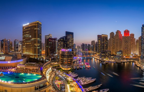 Картинка здания, бухта, яхты, бассейн, панорама, залив, Дубай, ночной город, Dubai, небоскрёбы, ОАЭ, UAE, Дубай Марина, …