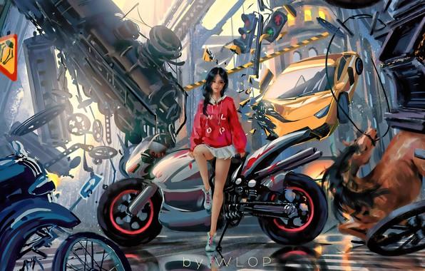 Картинка car, city, girl, fantasy, game, science fiction, motorcycle, sci-fi, cyberpunk, train, brunette, horse, digital art, …
