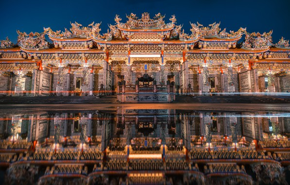 Картинка Night, Reflection, Bamboo Forest Temple
