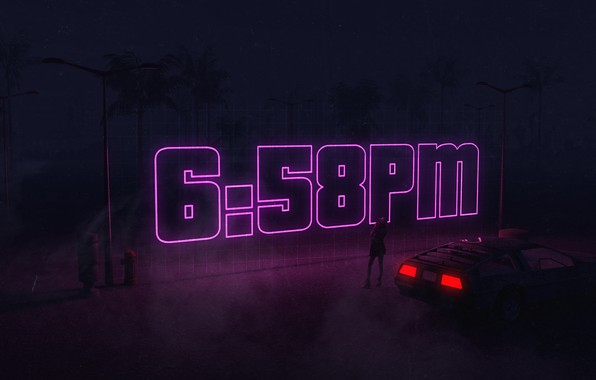 Картинка Авто, Ночь, Музыка, Время, Машина, Стиль, Фон, DeLorean DMC-12, Арт, Art, 80s, Style, DeLorean, DMC-12, …