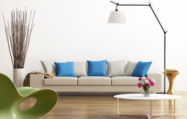 Картинка дизайн, зеленый, серый, голубой, интерьер, кресло, подушки, столик, гостиная, модерн