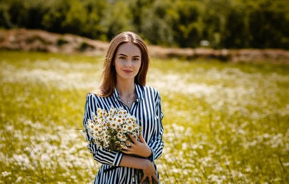 Картинка взгляд, улыбка, ромашки, Девушка, Алексей Гилёв