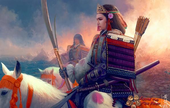 Картинка катана, доспехи, корона, всадница, самурай, Mario Wibisono, стрелы, art, пика, берег моря, белая лошадь, наплечники, …